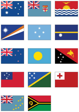 tonga: Complete  set of flags from Australia and Oceania. Illustration