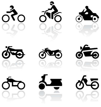 set of different motorbike symbols.