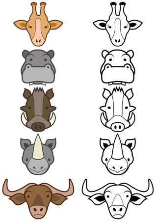 set of different cartoon wild or zoo animals. Stock Vector - 8163949