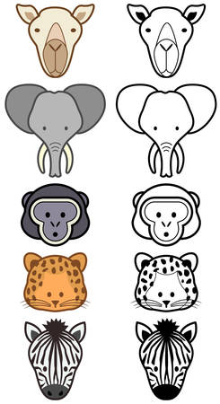 aantal verschillende cartoon wild of dieren in dieren tuinen. Stock Illustratie