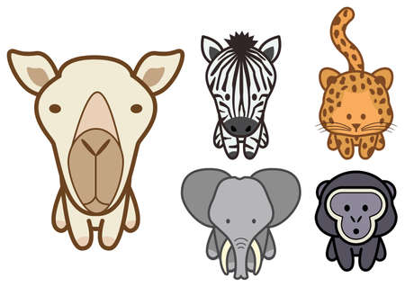 childishness: set of different cartoon wild or zoo animals.