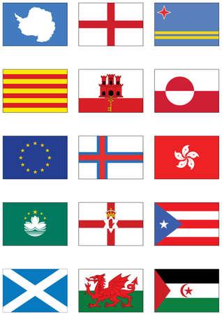 bandera de puerto rico: conjunto de indicadores de los continentes y de diversos pa�ses.  Vectores