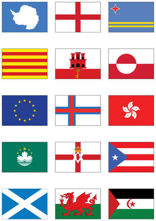 set of flags from world continents and miscellaneous countries.