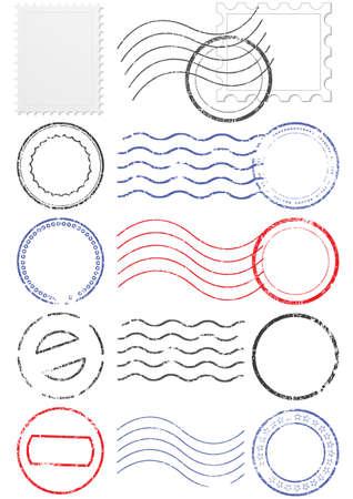 postmark:  Satz von verschiedenen Poststempel und Briefmarken. Illustration