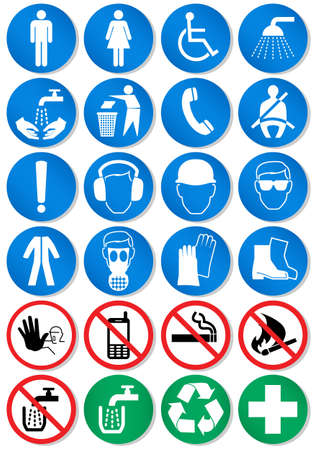 flammable warning:   illustration set of different international communication signs. Illustration