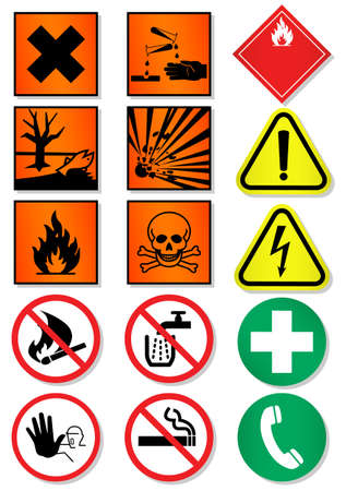 flammable warning:   set of different international signs, laboratory associated. Illustration