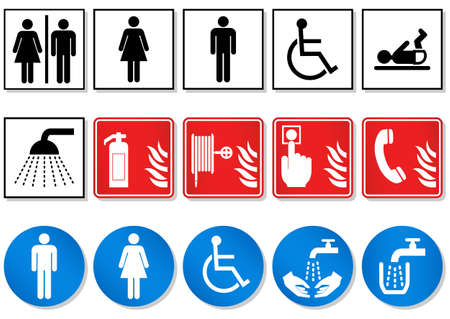 water hoses:   illustration set of different international communication signs. Illustration