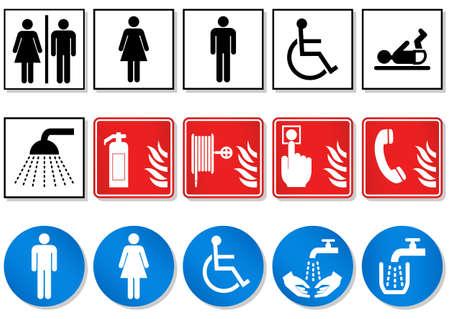 illustration set of different international communication signs. Illustration