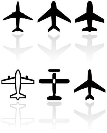 aereo icona:   set di simboli diversi aeroplano.