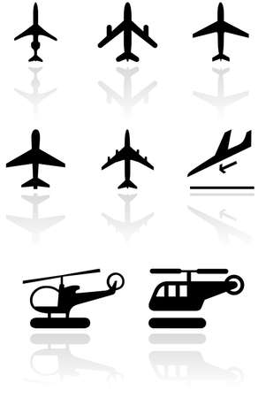 set of different airplane and helicopter symbols.