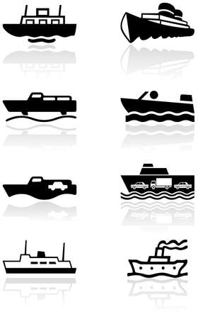cargo ship:   set of different boat illustrations or symbols.