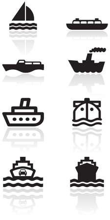 set of different boat illustrations or symbols.