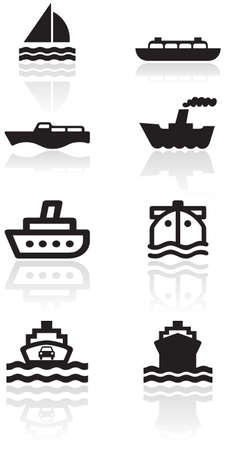 ferry boat:   set of different boat illustrations or symbols.