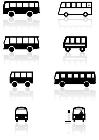 view icon:   set of different bus or van symbols. Illustration