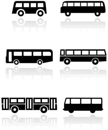 conjunto de símbolos diferentes de autobús o van.