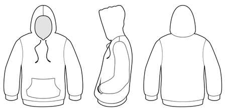 unprinted: Ilustraci�n de la plantilla de un su�ter encapuchado en blanco.