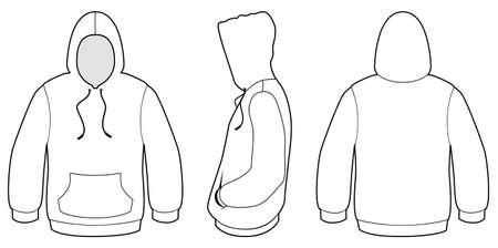 Ilustración de la plantilla de un suéter encapuchado en blanco.