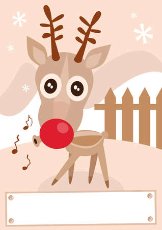 Funny   illustration of reindeer during holiday season. Vector