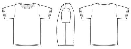 unprinted: Ilustraci�n de la plantilla de una camiseta b�sica en blanco.