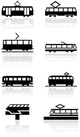 set of different train illustrations or symbols. Vector