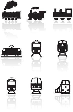 conjunto de símbolos o ilustraciones de tren diferentes.