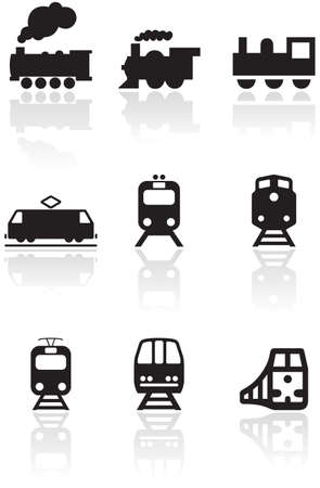 steam train:   set of different train illustrations or symbols.