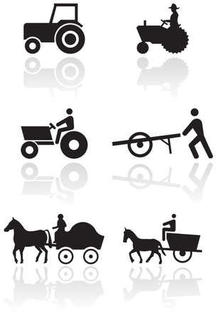tractores: Conjunto de s�mbolos de agricultores.