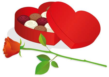 heart shaped box: heart shaped box with chocolates. Illustration