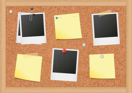 een prikbord van kurk met notities en foto's. Vector Illustratie