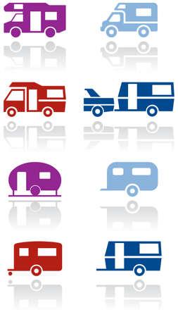Caravan or camper van symbol illustration set. Stock fotó - 8346259