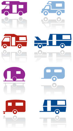 Caravan or camper van symbol illustration set. Vector