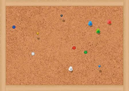 illustratie van een lege kurk prikbord met punaises. Vector Illustratie