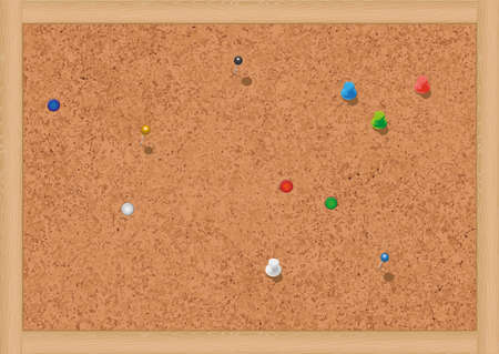 illustration of a blank cork notice board with thumbtacks. Vector
