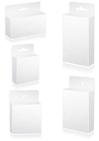appendini: illustrazione serie di scatole vuote al dettaglio con slot per appendere. Tutti gli oggetti sono isolati. Colori e sfondo trasparente sono facili da regolare. Vettoriali
