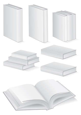 unprinted: Vector illustration set of blank books with hardcover. All vector objects are isolated and grouped. Colors and transparent background color are easy to customize.