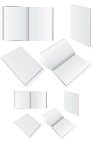 author: Vector illustration set of blank square of rectangle books with softcover. All vector objects are isolated and grouped. Colors and transparent background color are easy to customize.