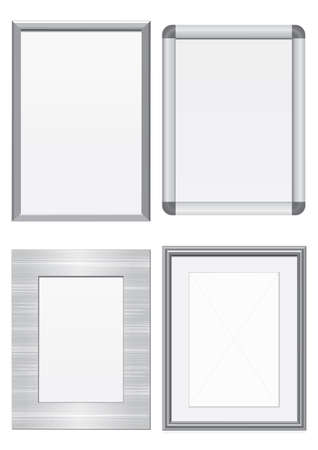 Vector illustration set of frames with metal texture. All vector objects are isolated and grouped. Colors and transparent background color are easy to customize. Ilustracja