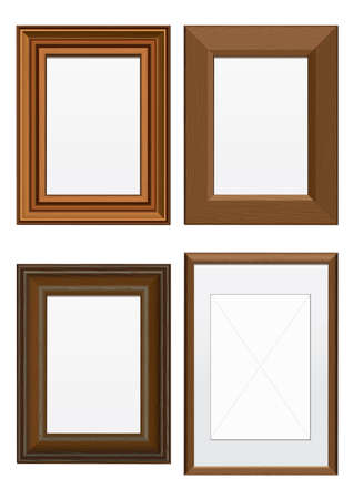 Vector illustration set of frames with wood texture. All vector objects are isolated and grouped. Colors and transparent background color are easy to customize.
