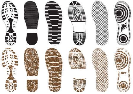 Vektorillustrationssatz von Fußabdrücken mit & ohne Sandstruktur. Alle Vektorobjekte werden isoliert und gruppiert. Farben und transparente Hintergrundfarben lassen sich leicht anpassen. Vektorgrafik