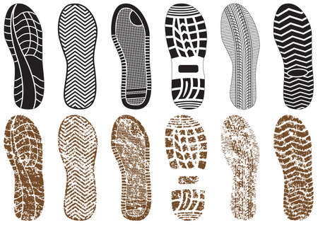 treads: Vector illustration set of footprints with & without sand texture. All vector objects are isolated and grouped. Colors and transparent background color are easy to customize. Illustration