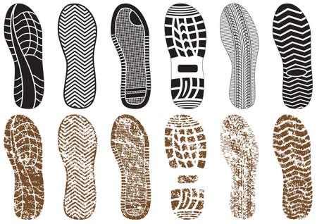 Vektorillustrationssatz von Fußabdrücken mit & ohne Sandstruktur. Alle Vektorobjekte werden isoliert und gruppiert. Farben und transparente Hintergrundfarben lassen sich leicht anpassen.