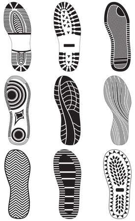 huellas de pies: conjunto de huellas