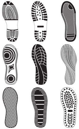 hiking boots: set of footprints Illustration