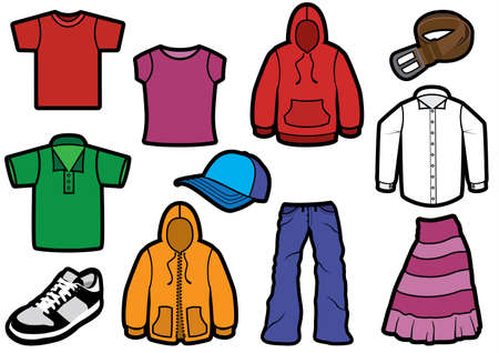 Clothing symbol set with bold outlines. Vector