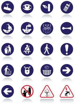 Varios signos internacionales de comunicación.
