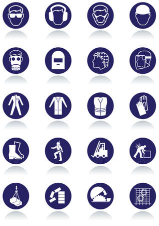 work safety: International communication signs for workplaces.