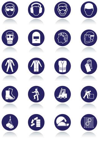 Señales de comunicación internacional para los lugares de trabajo. Ilustración de vector