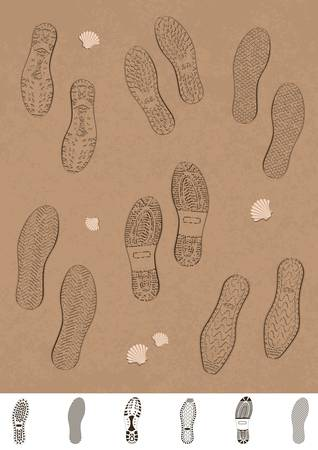 walking trail: Illustration set of footprints on the beach.