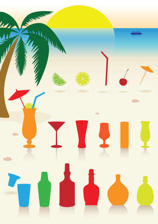 Tropical drinks set. Vector