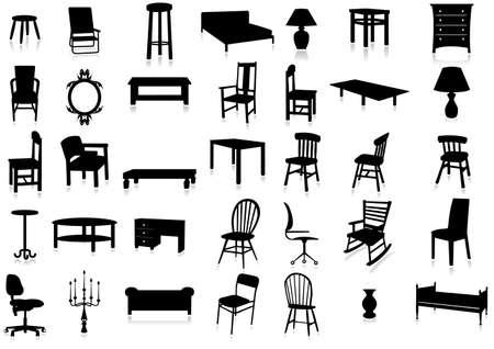 escabeau: Ensemble de meubles illustration silhouette. Illustration